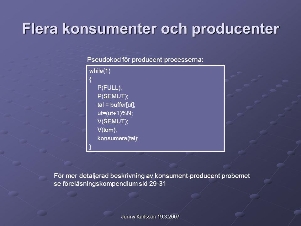 Jonny Karlsson 19.3.2007 Flera konsumenter och producenter while(1) { P(FULL); P(SEMUT); tal = buffer[ut]; ut=(ut+1)%N; V(SEMUT); V(tom); konsumera(tal); } Pseudokod för producent-processerna: För mer detaljerad beskrivning av konsument-producent probemet se föreläsningskompendium sid 29-31