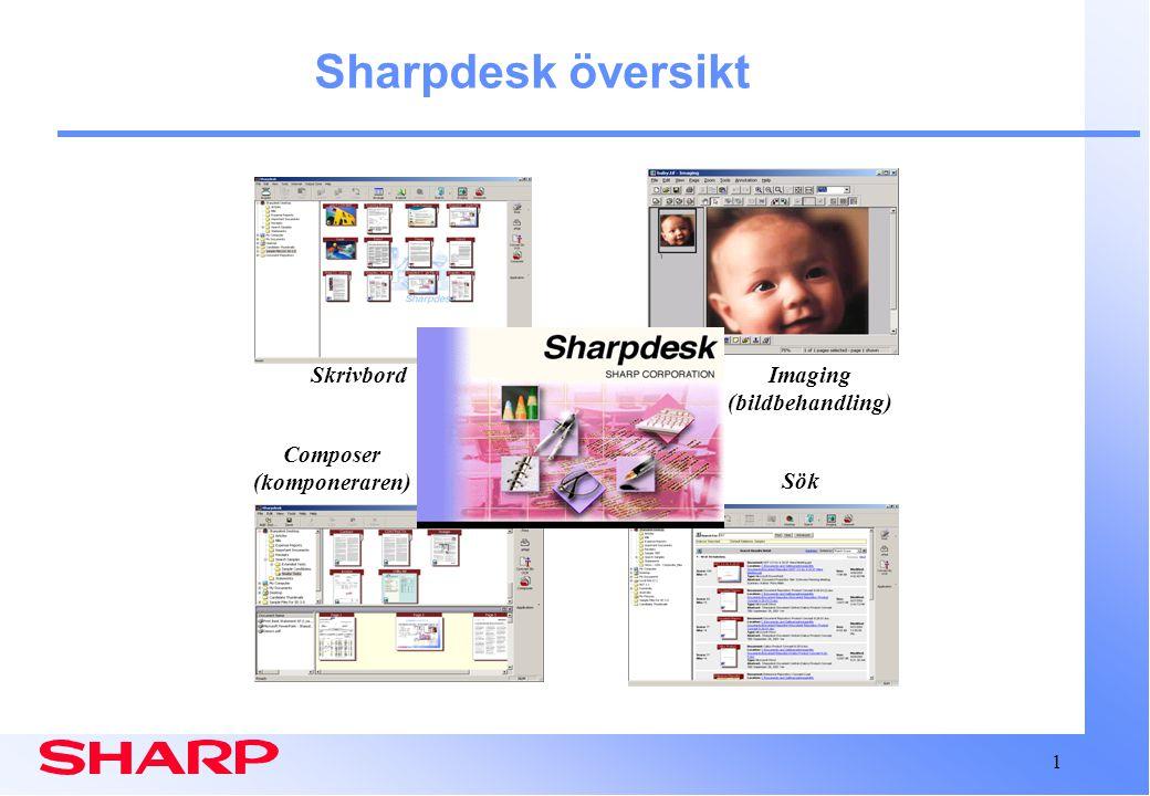 1 Sharpdesk översikt Skrivbord Composer (komponeraren) Sök Imaging (bildbehandling)