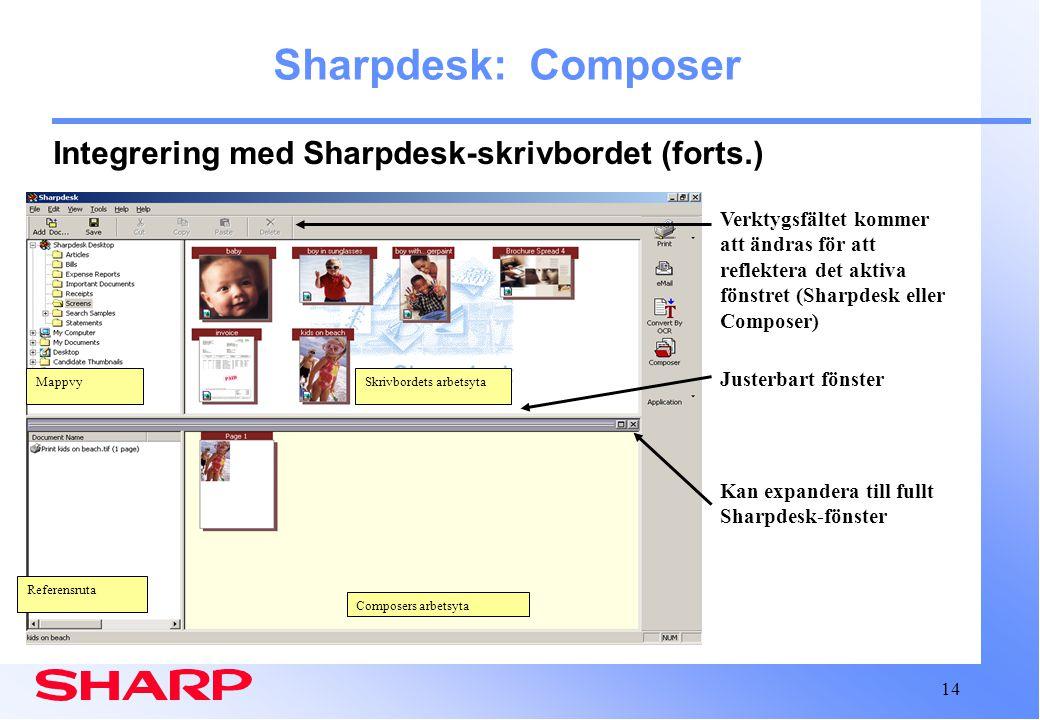 14 Composers arbetsyta Sharpdesk: Composer Integrering med Sharpdesk-skrivbordet (forts.) Kan expandera till fullt Sharpdesk-fönster Verktygsfältet kommer att ändras för att reflektera det aktiva fönstret (Sharpdesk eller Composer) Justerbart fönster Skrivbordets arbetsytaMappvy Referensruta