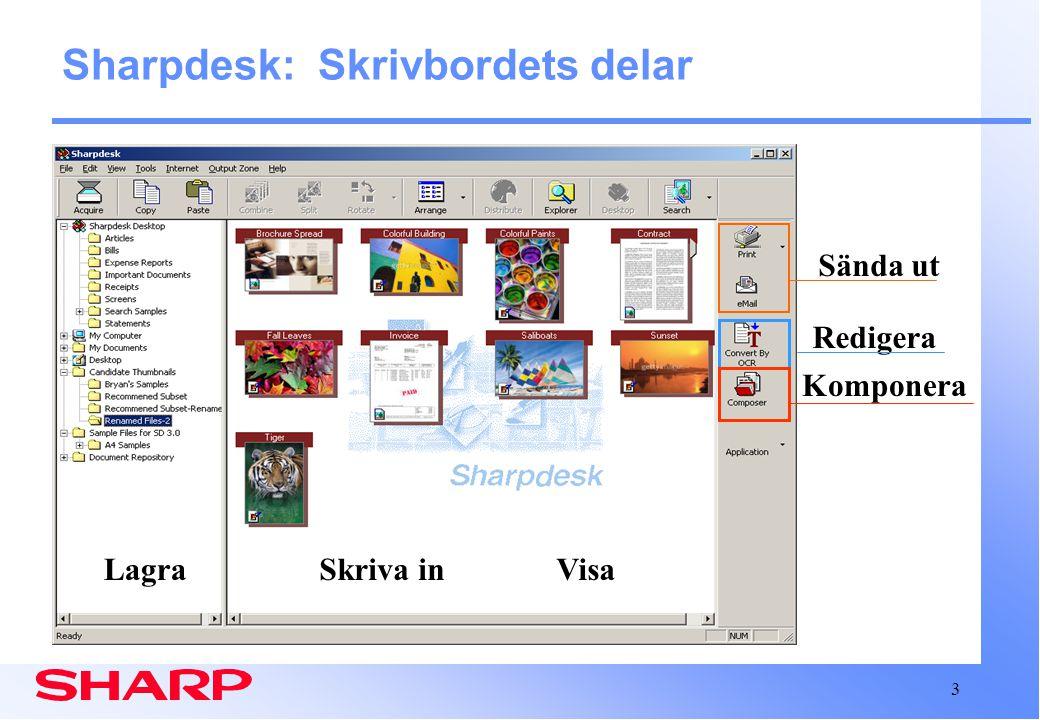 3 Sharpdesk: Skrivbordets delar Skriva inLagraVisa Redigera Komponera Sända ut