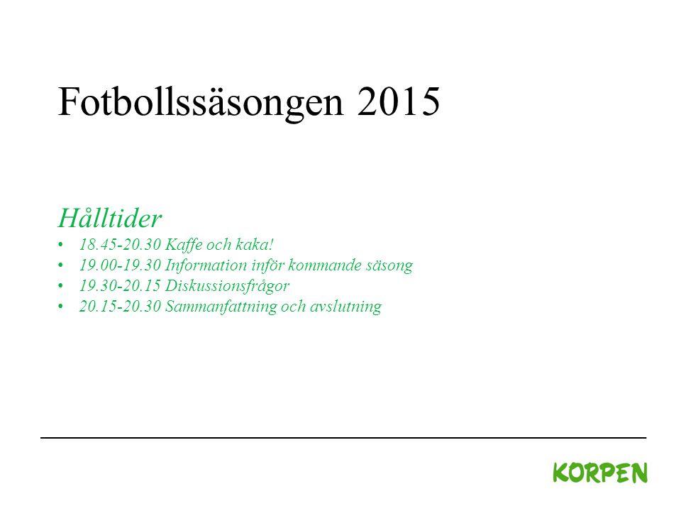 Fotbollssäsongen 2015 Hålltider 18.45-20.30 Kaffe och kaka.
