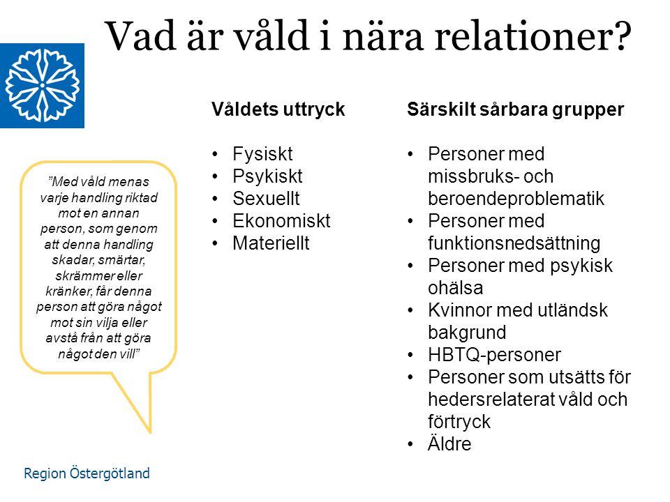 """Region Östergötland Vad är våld i nära relationer? Våldets uttryck Fysiskt Psykiskt Sexuellt Ekonomiskt Materiellt """"Med våld menas varje handling rikt"""