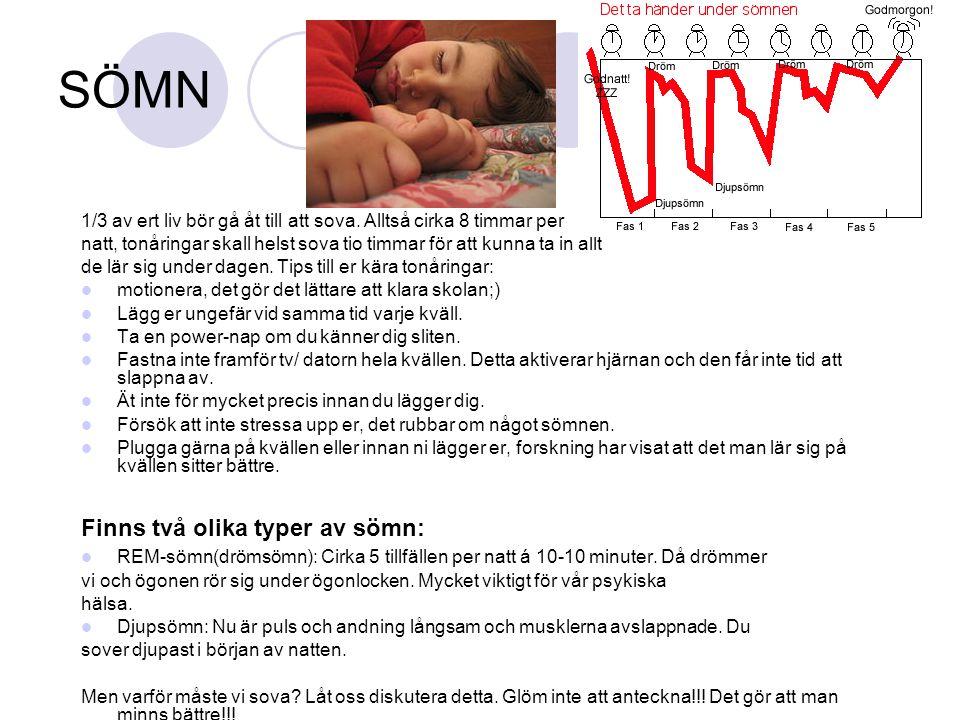 SÖMN 1/3 av ert liv bör gå åt till att sova. Alltså cirka 8 timmar per natt, tonåringar skall helst sova tio timmar för att kunna ta in allt de lär si