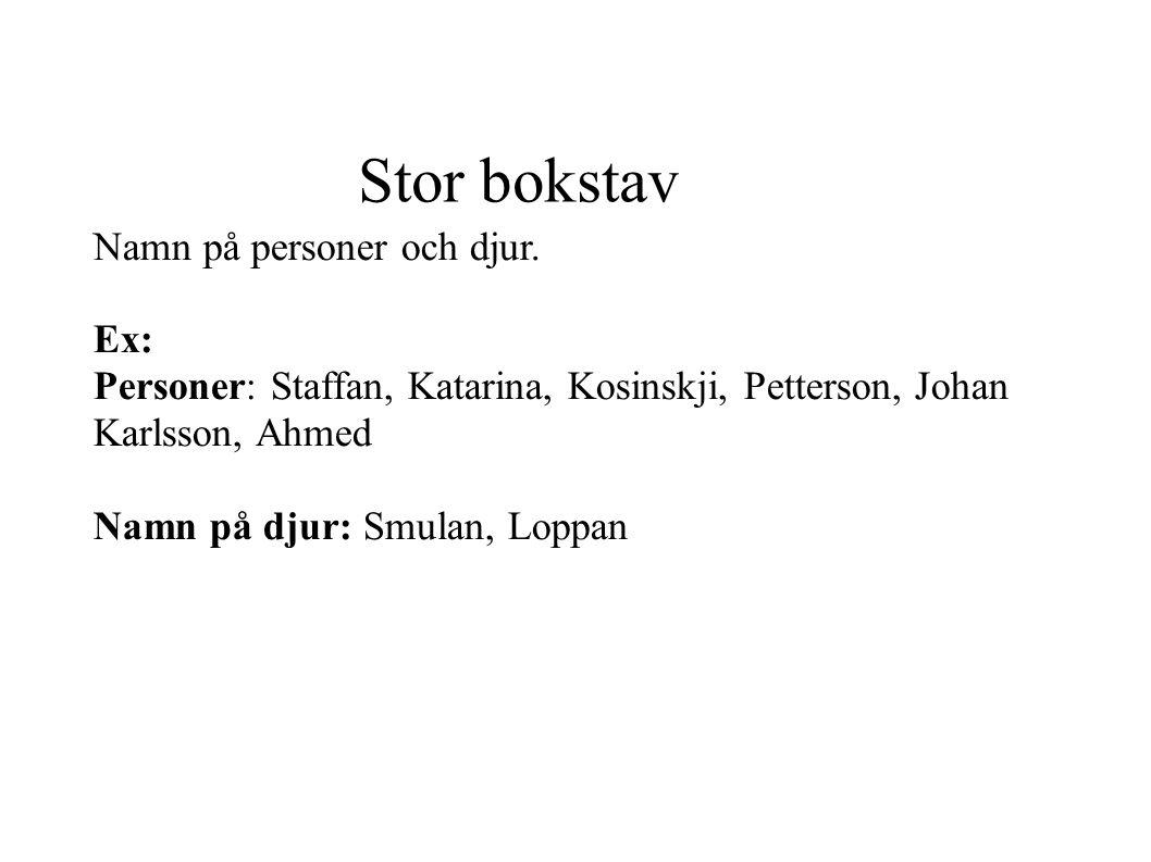Stor bokstav Namn på personer och djur. Ex: Personer: Staffan, Katarina, Kosinskji, Petterson, Johan Karlsson, Ahmed Namn på djur: Smulan, Loppan