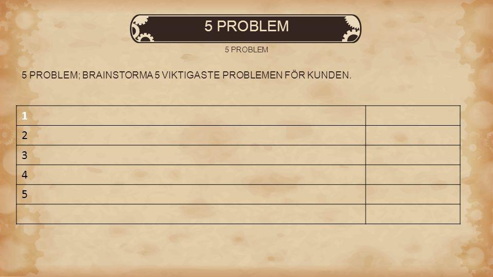 5 PROBLEM 5 PROBLEM; BRAINSTORMA 5 VIKTIGASTE PROBLEMEN FÖR KUNDEN. 1 2 3 4 5
