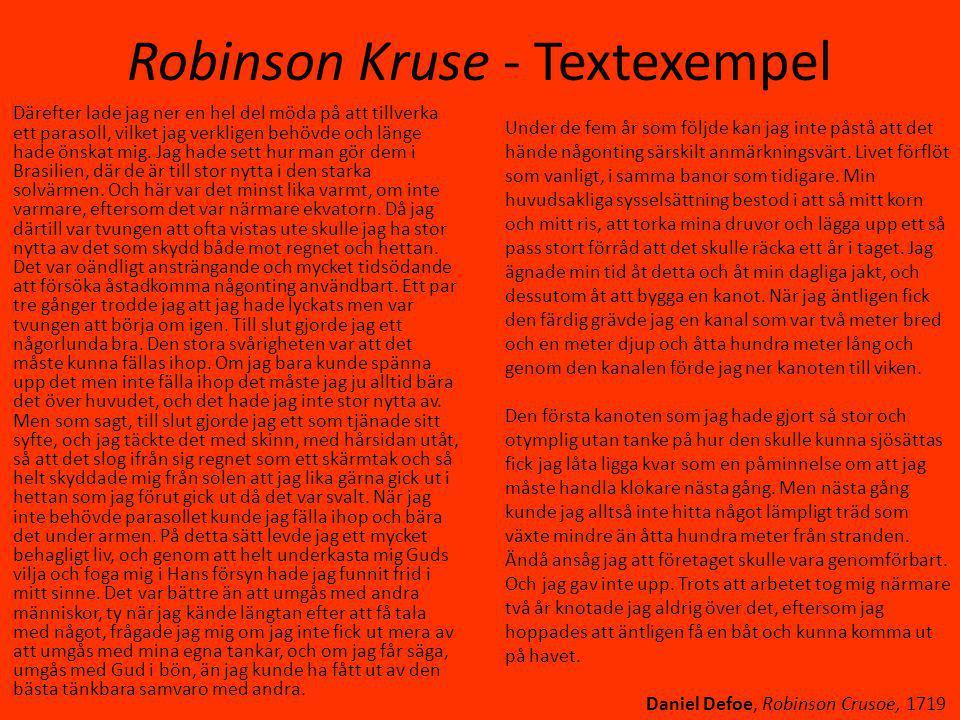 Robinson Kruse - Textexempel Därefter lade jag ner en hel del möda på att tillverka ett parasoll, vilket jag verkligen behövde och länge hade önskat mig.