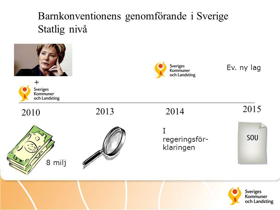 2010 20132014 2015 Barnkonventionens genomförande i Sverige Statlig nivå + 8 milj Ev. ny lag I regeringsför- klaringen