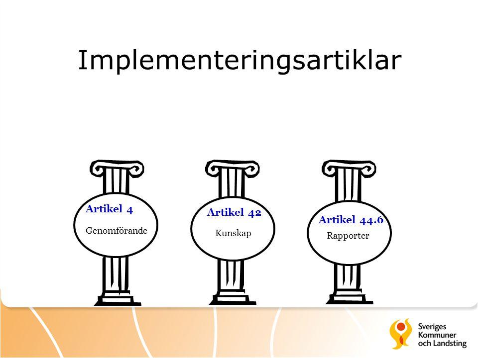 Implementeringsartiklar Artikel 4 Artikel 42 Artikel 44.6 Genomförande Kunskap Rapporter