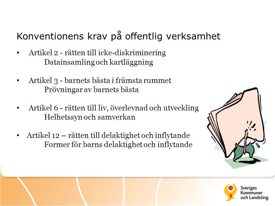 Konventionens krav på offentlig verksamhet Artikel 2 - rätten till icke-diskriminering Datainsamling och kartläggning Artikel 3 - barnets bästa i främ