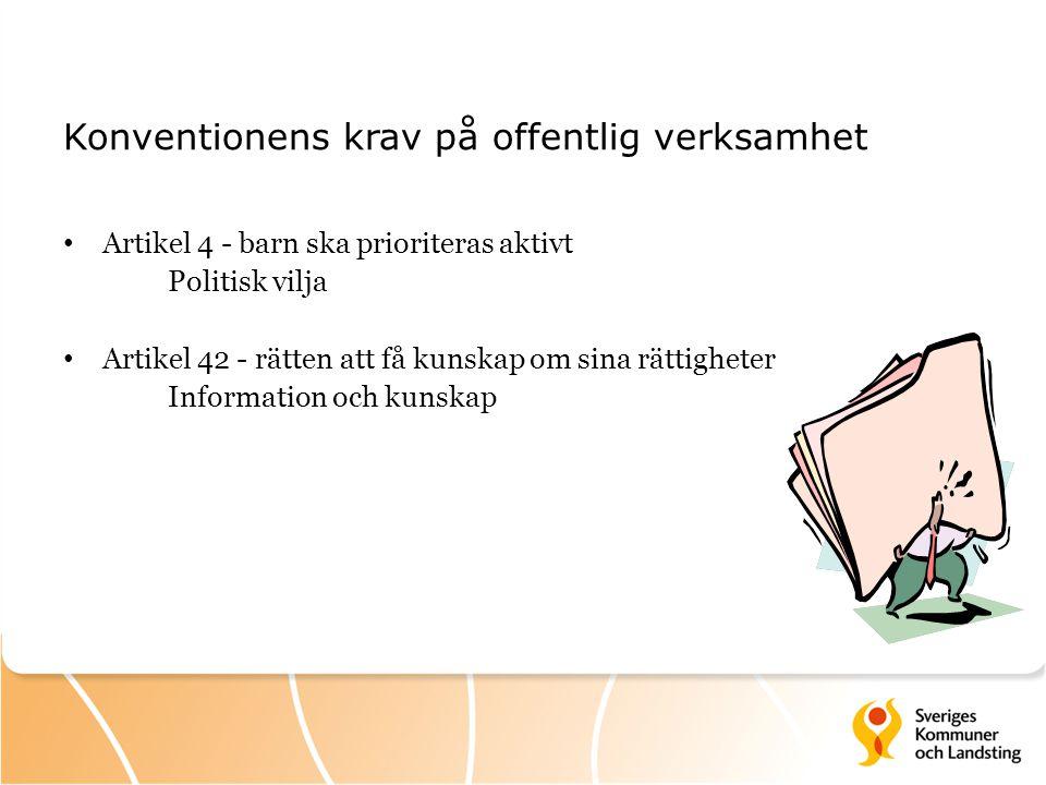 Konventionens krav på offentlig verksamhet Artikel 4 - barn ska prioriteras aktivt Politisk vilja Artikel 42 - rätten att få kunskap om sina rättighet