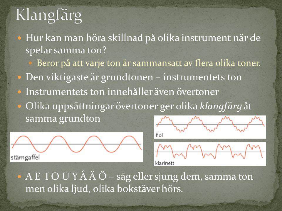 Hur kan man höra skillnad på olika instrument när de spelar samma ton? Beror på att varje ton är sammansatt av flera olika toner. Den viktigaste är gr