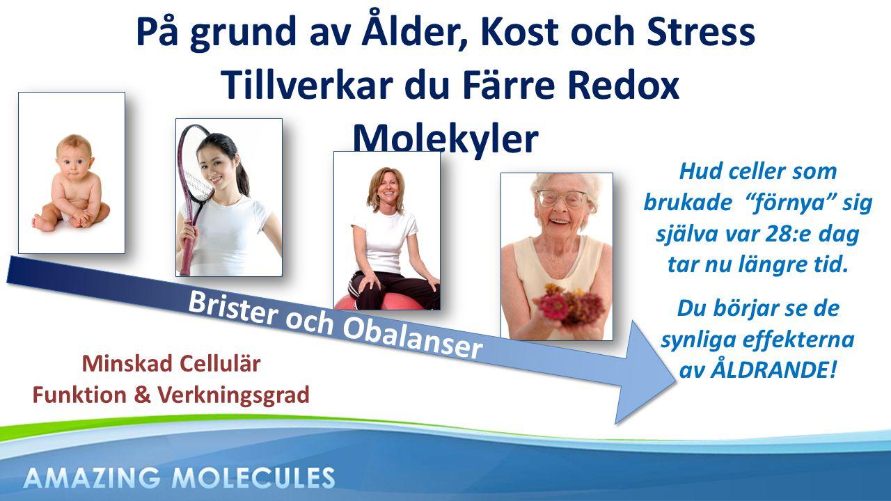 På grund av Ålder, Kost och Stress Tillverkar du Färre Redox Molekyler Brister och Obalanser Minskad Cellulär Funktion & Verkningsgrad Hud celler som