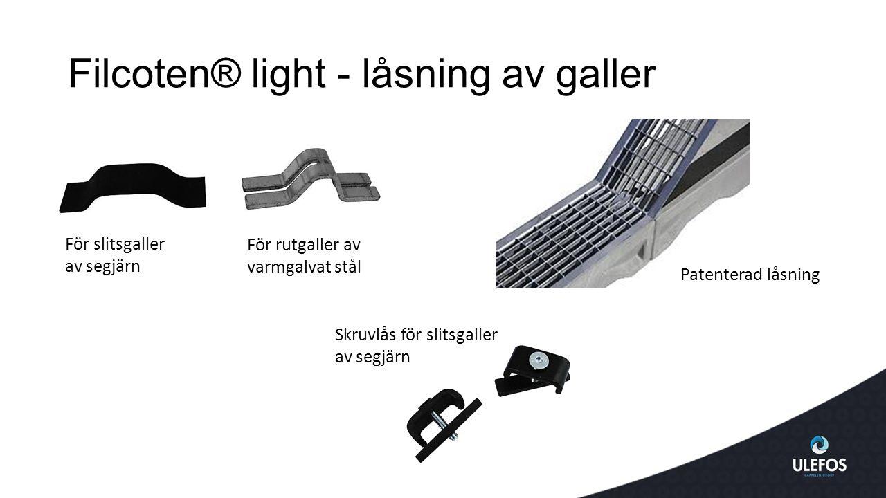 Filcoten® light - låsning av galler För slitsgaller av segjärn För rutgaller av varmgalvat stål Patenterad låsning Skruvlås för slitsgaller av segjärn