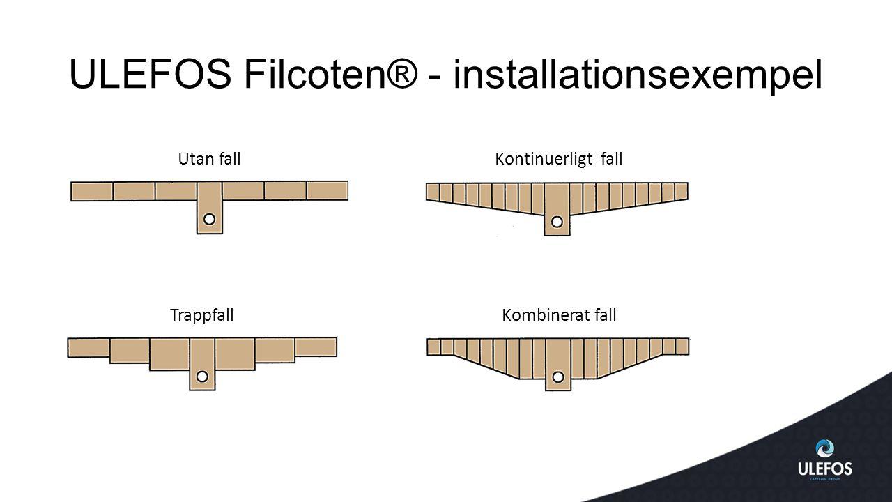 ULEFOS Filcoten® - installationsexempel Utan fallKontinuerligt fall TrappfallKombinerat fall