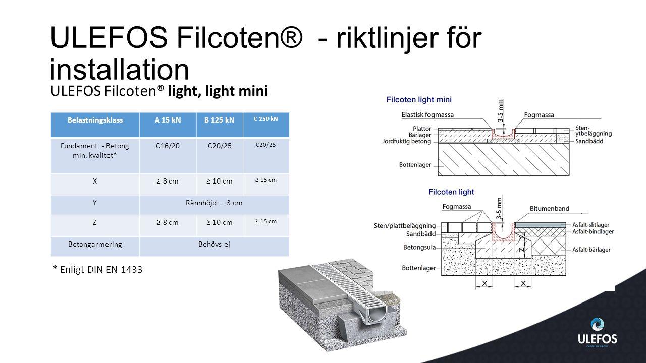 ULEFOS Filcoten® - riktlinjer för installation ULEFOS Filcoten® light, light mini BelastningsklassA 15 kNB 125 kN C 250 kN Fundament - Betong min.