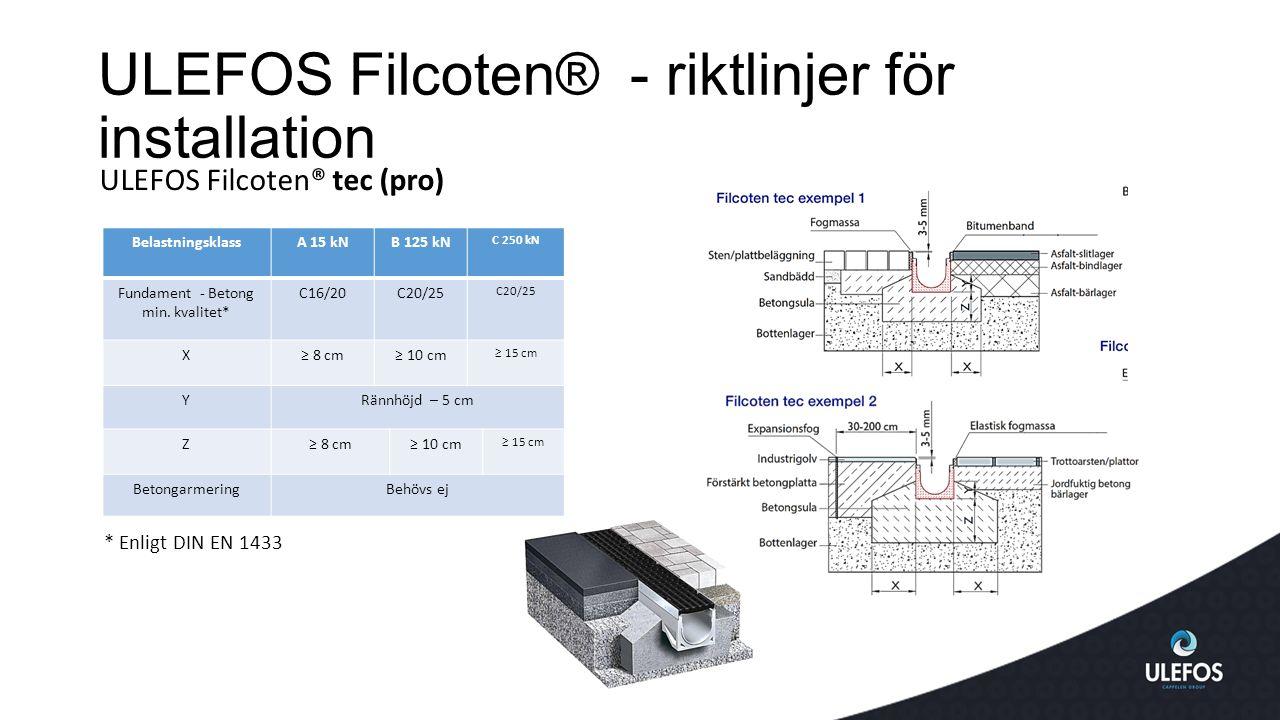 ULEFOS Filcoten® - riktlinjer för installation ULEFOS Filcoten® tec (pro) * Enligt DIN EN 1433 BelastningsklassA 15 kNB 125 kN C 250 kN Fundament - Betong min.