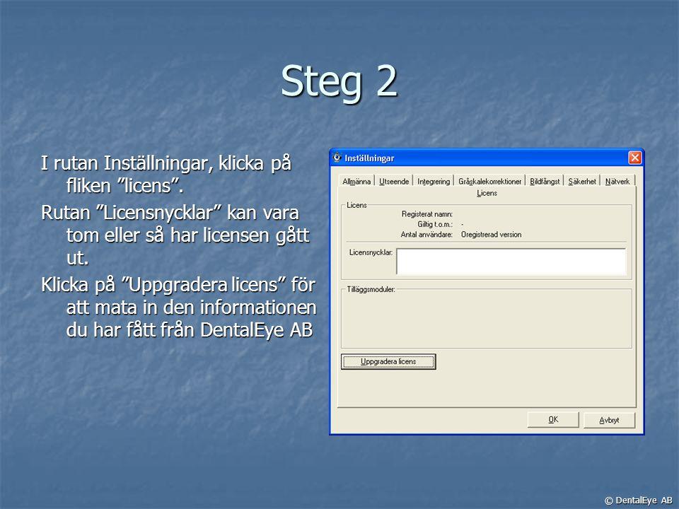 """Steg 2 I rutan Inställningar, klicka på fliken """"licens"""". Rutan """"Licensnycklar"""" kan vara tom eller så har licensen gått ut. Klicka på """"Uppgradera licen"""