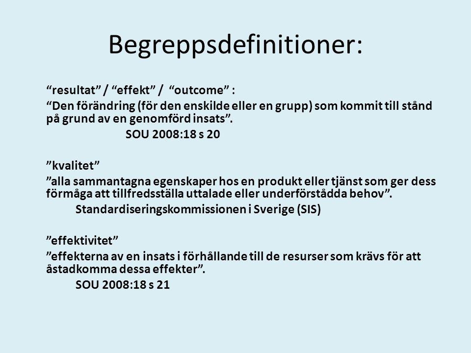 Begreppsdefinitioner: resultat / effekt / outcome : Den förändring (för den enskilde eller en grupp) som kommit till stånd på grund av en genomförd insats .