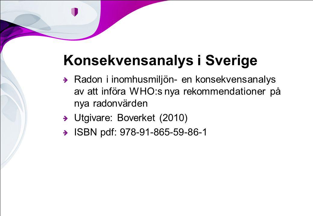 Konsekvensanalys i Sverige Radon i inomhusmiljön- en konsekvensanalys av att införa WHO:s nya rekommendationer på nya radonvärden Utgivare: Boverket (2010) ISBN pdf: 978-91-865-59-86-1