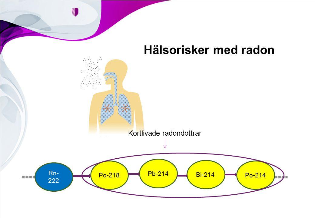 Hälsorisker med radon Rn- 222 Po-218 Pb-214 Bi-214 Po-214 Kortlivade radondöttrar