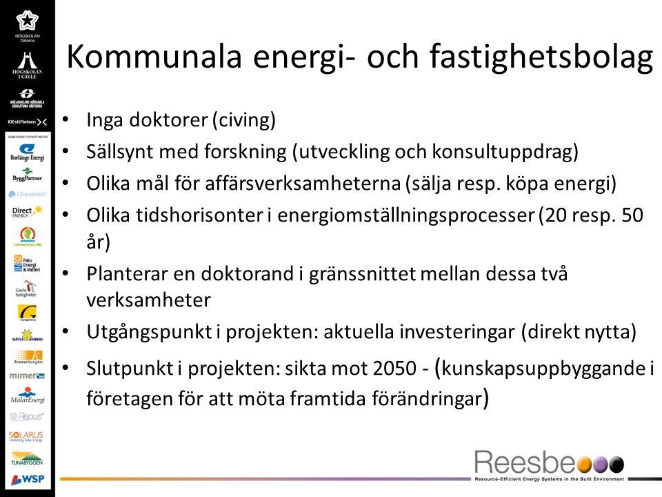 Kommunala energi- och fastighetsbolag Inga doktorer (civing) Sällsynt med forskning (utveckling och konsultuppdrag) Olika mål för affärsverksamheterna
