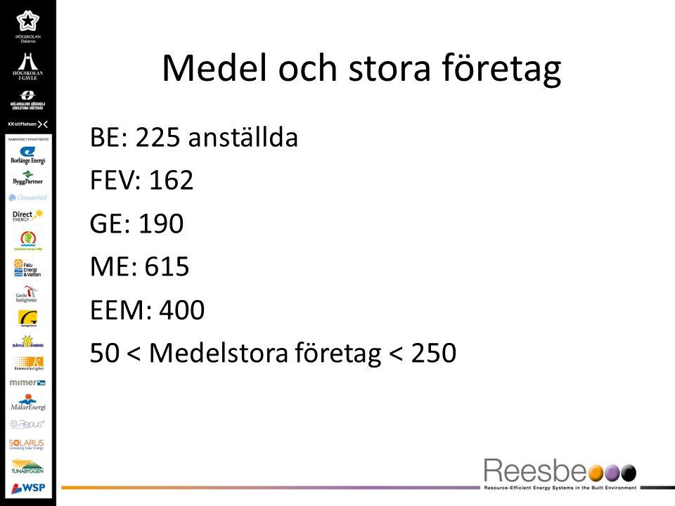 Medel och stora företag BE: 225 anställda FEV: 162 GE: 190 ME: 615 EEM: 400 50 < Medelstora företag < 250