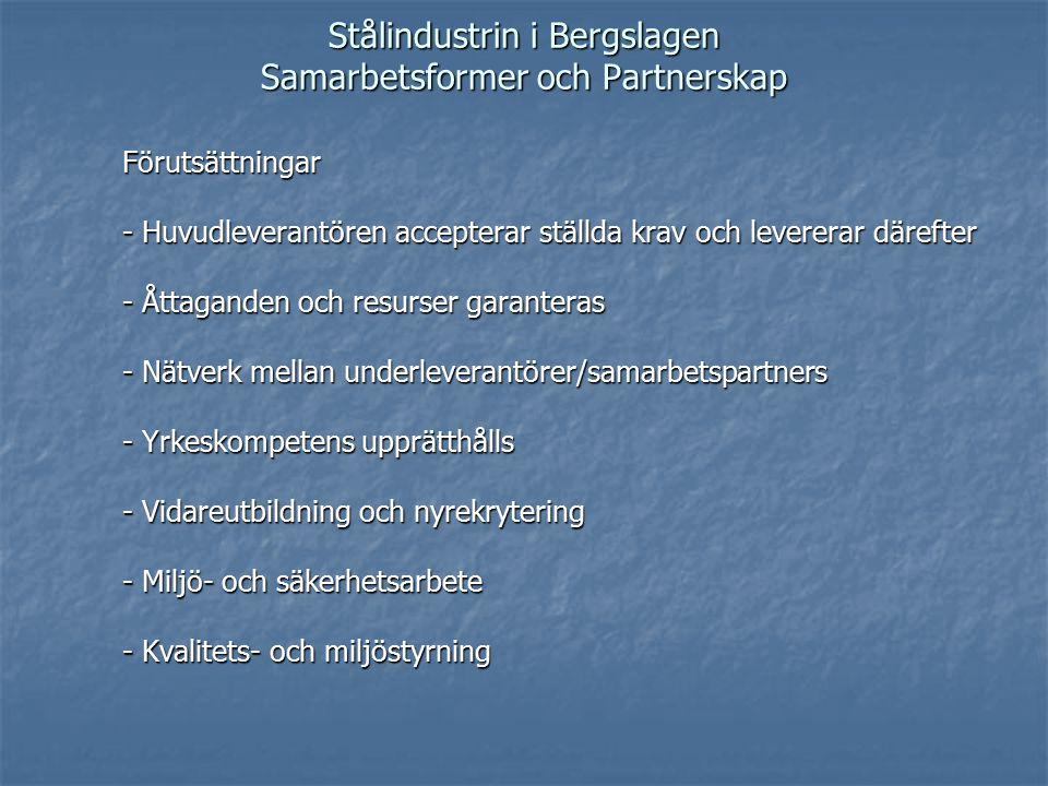 Stålindustrin i Bergslagen Samarbetsformer och Partnerskap Förutsättningar - Huvudleverantören accepterar ställda krav och levererar därefter - Åttaganden och resurser garanteras - Nätverk mellan underleverantörer/samarbetspartners - Yrkeskompetens upprätthålls - Vidareutbildning och nyrekrytering - Miljö- och säkerhetsarbete - Kvalitets- och miljöstyrning