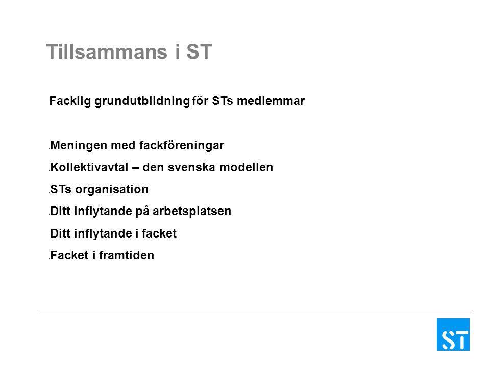 Facklig grundutbildning för STs medlemmar - Meningen med fackföreningar - Kollektivavtal – den svenska modellen - STs organisation - Ditt inflytande p