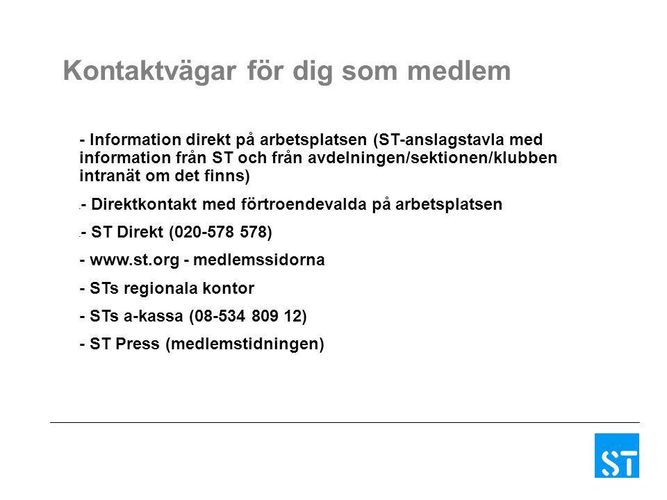 - Information direkt på arbetsplatsen (ST-anslagstavla med information från ST och från avdelningen/sektionen/klubben intranät om det finns) - - Direk