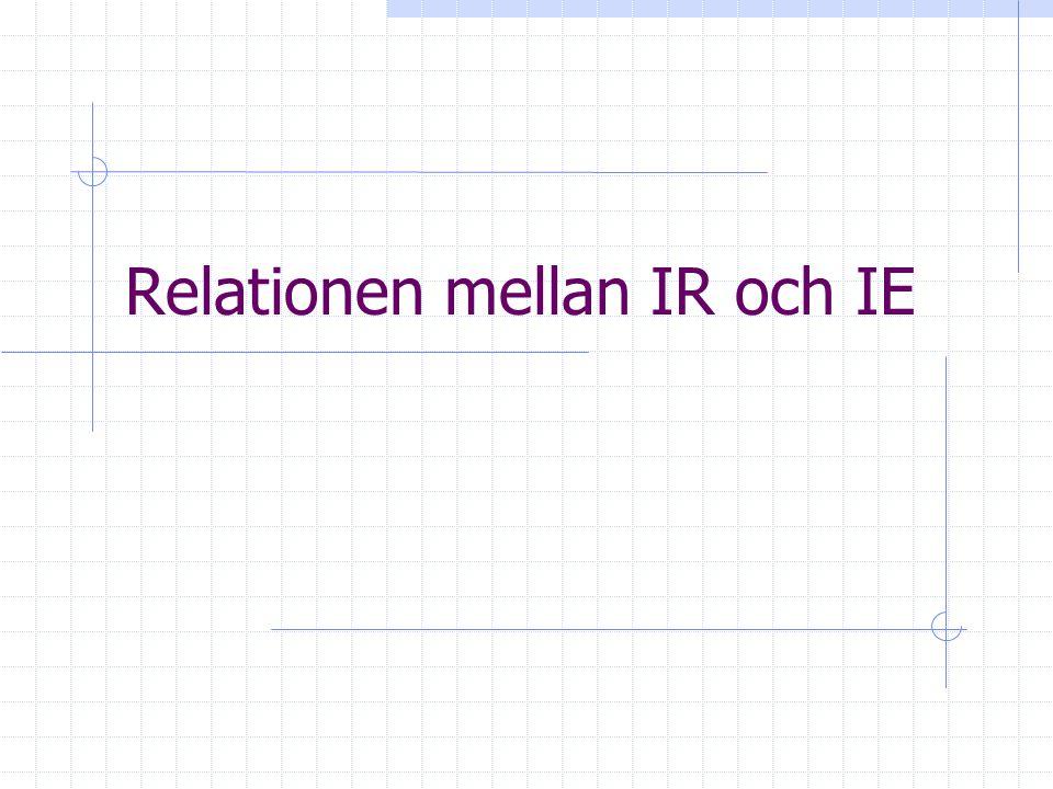 Relationen mellan IR och IE