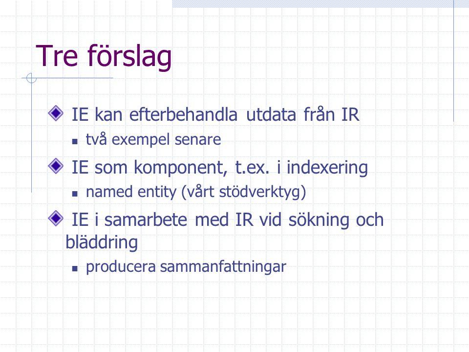 Tre förslag IE kan efterbehandla utdata från IR två exempel senare IE som komponent, t.ex.