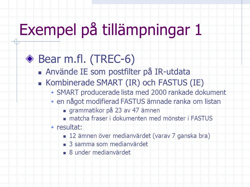 Exempel på tillämpningar1 Bear m.fl.