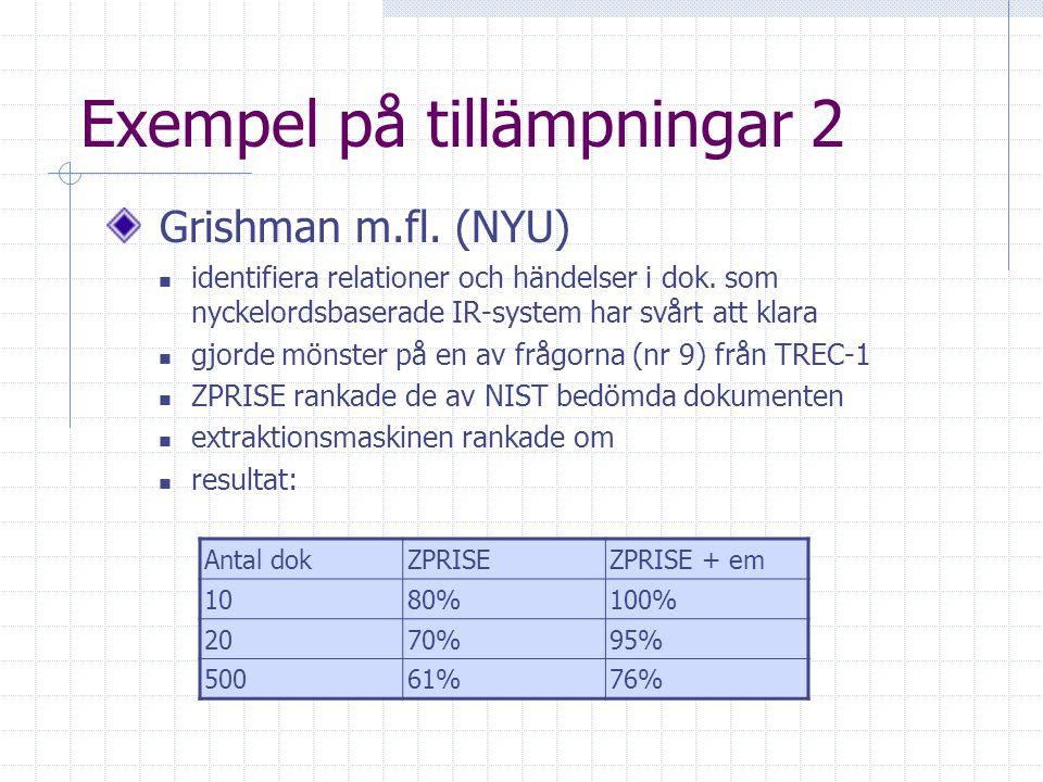 Exempel på tillämpningar2 Grishman m.fl.(NYU) identifiera relationer och händelser i dok.