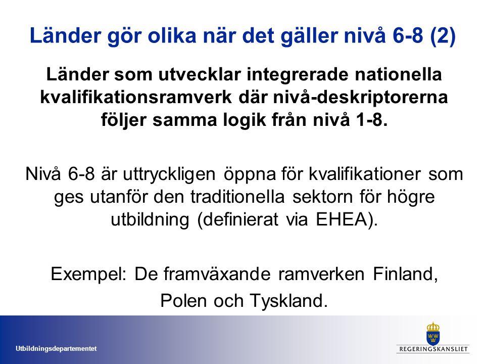 Utbildningsdepartementet Länder gör olika när det gäller nivå 6-8 (2) Länder som utvecklar integrerade nationella kvalifikationsramverk där nivå-deskriptorerna följer samma logik från nivå 1-8.