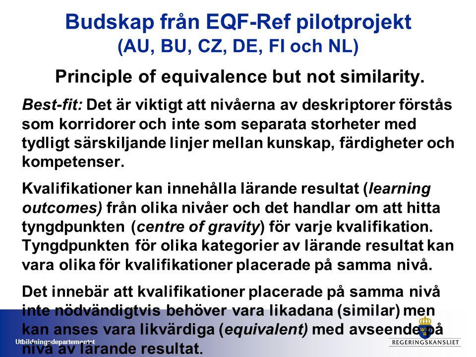 Utbildningsdepartementet Budskap från EQF-Ref pilotprojekt (AU, BU, CZ, DE, FI och NL) Principle of equivalence but not similarity.