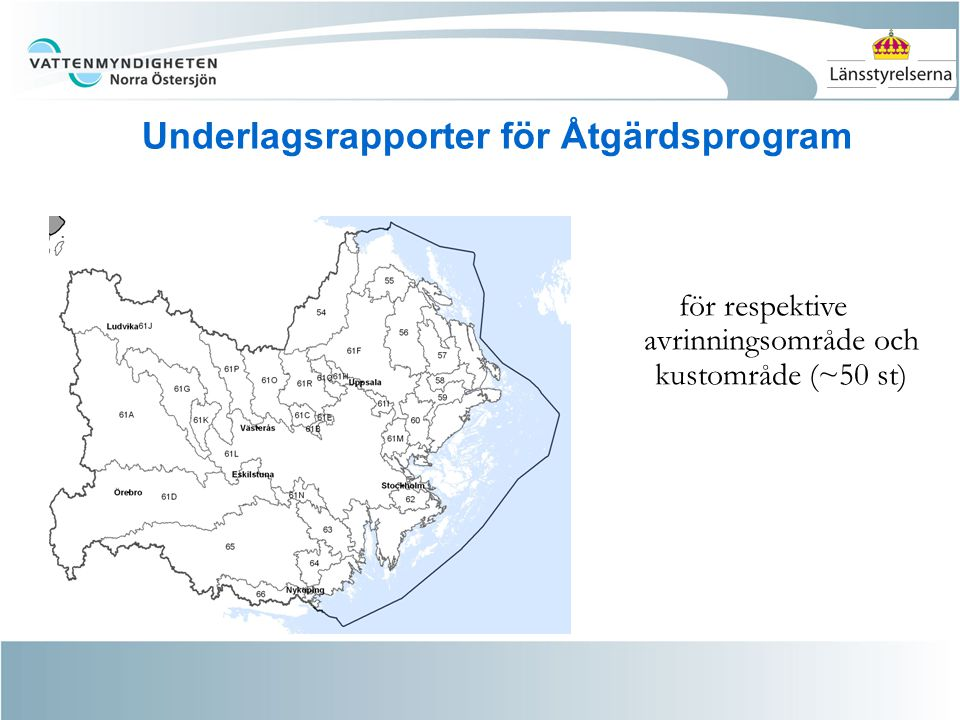 Underlagsrapporter för Åtgärdsprogram för respektive avrinningsområde och kustområde (~50 st)
