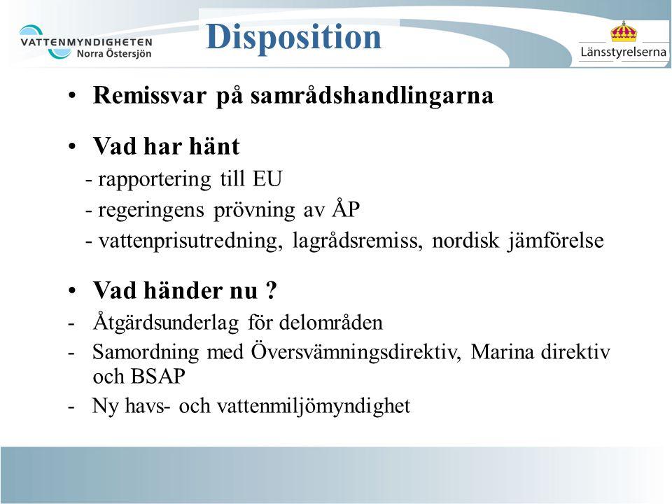 Disposition Remissvar på samrådshandlingarna Vad har hänt - rapportering till EU - regeringens prövning av ÅP - vattenprisutredning, lagrådsremiss, nordisk jämförelse Vad händer nu .