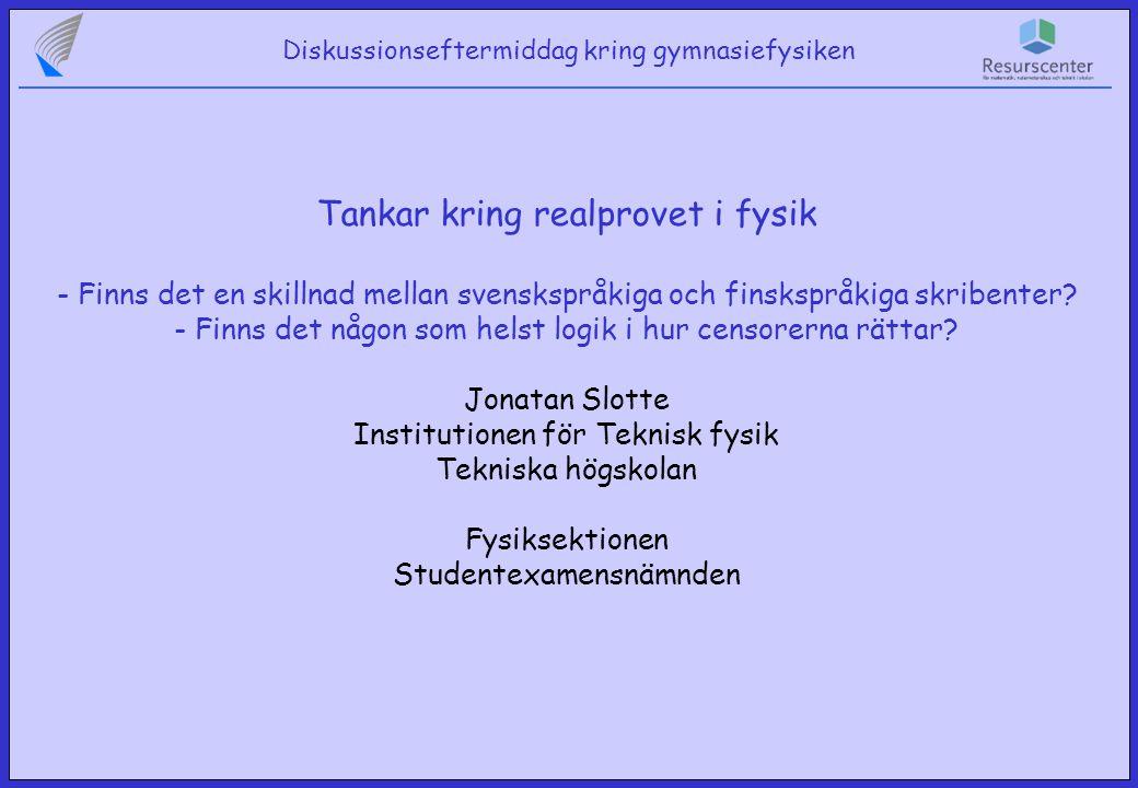 Diskussionseftermiddag kring gymnasiefysiken Skillnader mellan svenskspråkiga och finskspråkiga skribenter Svarsteknik Uppställning av räkneuppgifter Motiveringar Grafer Mekanik Kraftfigurer