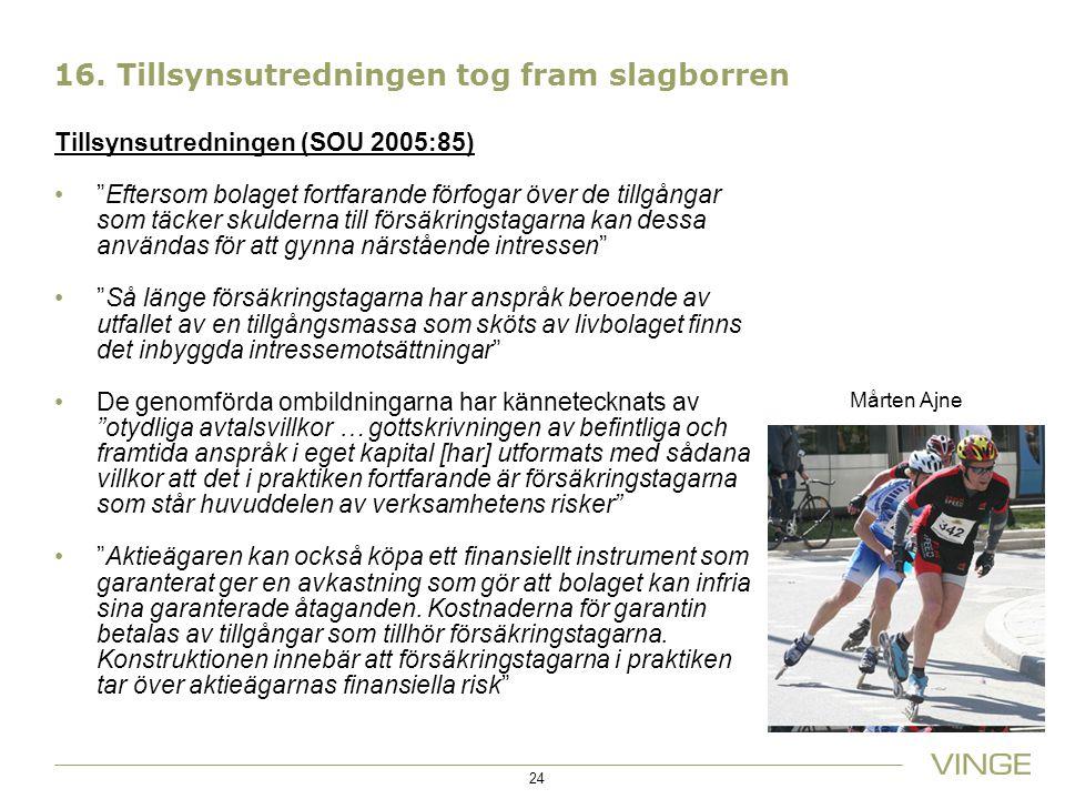 """16. Tillsynsutredningen tog fram slagborren Tillsynsutredningen (SOU 2005:85) """"Eftersom bolaget fortfarande förfogar över de tillgångar som täcker sku"""