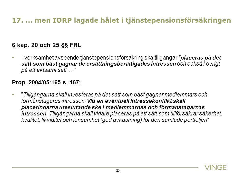 """17. … men IORP lagade hålet i tjänstepensionsförsäkringen 6 kap. 20 och 25 §§ FRL I verksamhet avseende tjänstepensionsförsäkring ska tillgångar """"plac"""