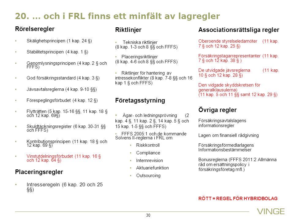 20.… och i FRL finns ett minfält av lagregler Rörelseregler Skälighetsprincipen (1 kap.