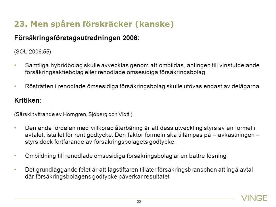 23. Men spåren förskräcker (kanske) Försäkringsföretagsutredningen 2006: (SOU 2006:55) Samtliga hybridbolag skulle avvecklas genom att ombildas, antin