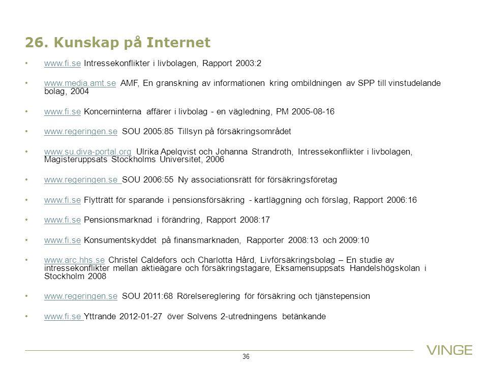 26. Kunskap på Internet www.fi.se Intressekonflikter i livbolagen, Rapport 2003:2www.fi.se www.media.amt.se AMF, En granskning av informationen kring