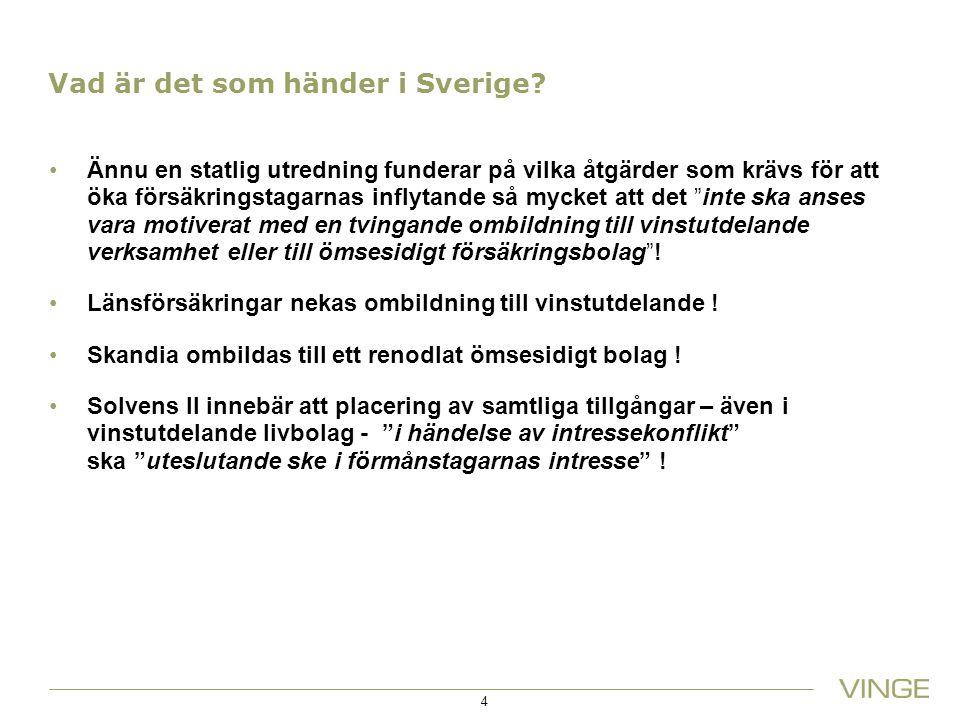 Vad är det som händer i Sverige? Ännu en statlig utredning funderar på vilka åtgärder som krävs för att öka försäkringstagarnas inflytande så mycket a