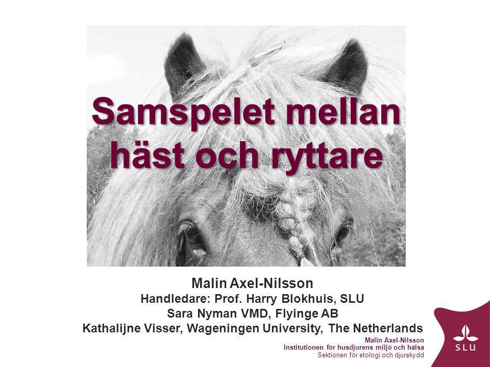 Malin Axel-Nilsson Institutionen för husdjurens miljö och hälsa Sektionen för etologi och djurskydd 360 000 hästar360 000 hästar 500 000 aktiva ryttare500 000 aktiva ryttare 2:a farligaste sporten2:a farligaste sporten Många hästar säljs vidareMånga hästar säljs vidare Avel.