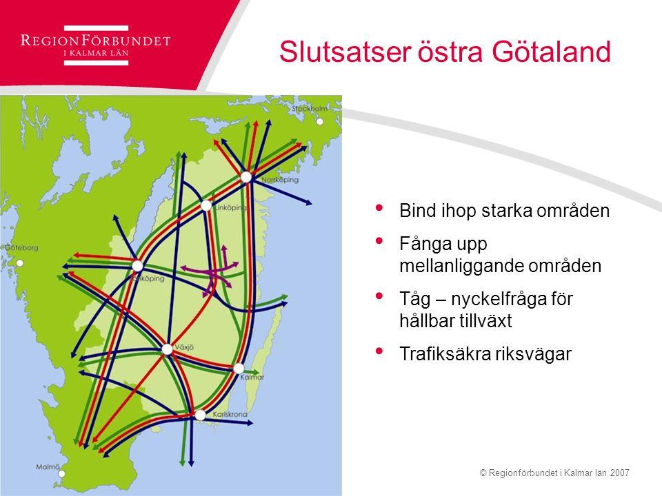 © Regionförbundet i Kalmar län 2007Sidan 14 Infrastruktur för hållbar tillväxt Prop. 2008/09:35 –