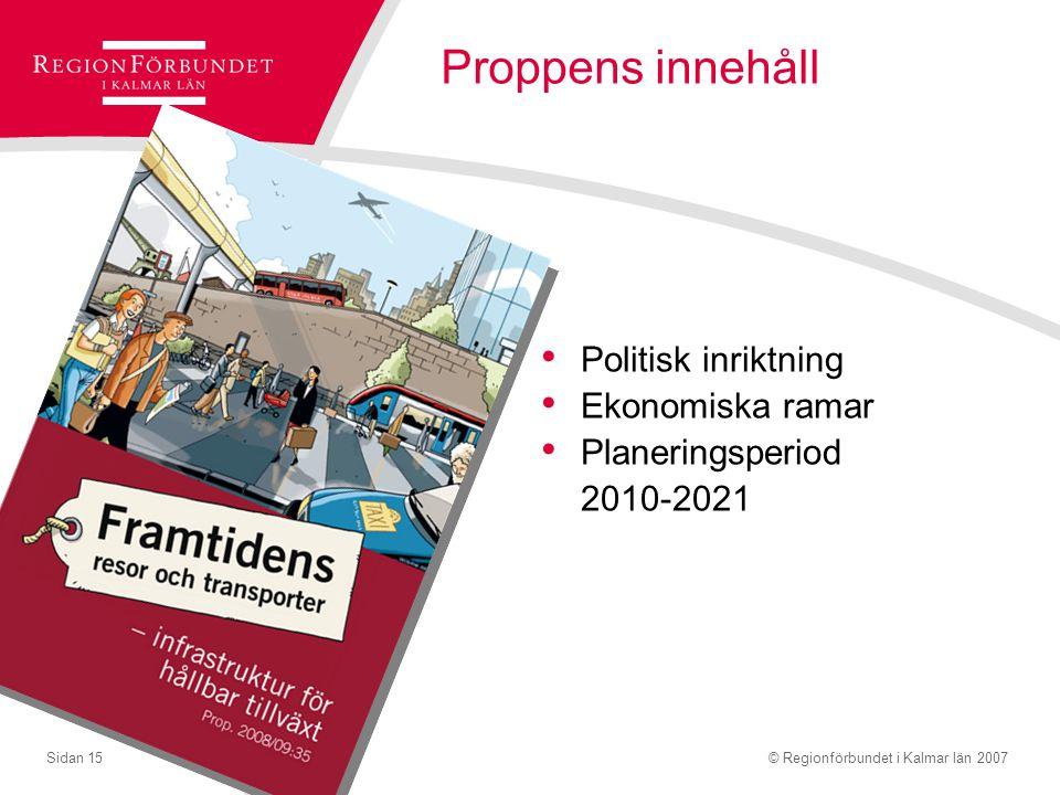 © Regionförbundet i Kalmar län 2007Sidan 15 Proppens innehåll Politisk inriktning Ekonomiska ramar Planeringsperiod 2010-2021