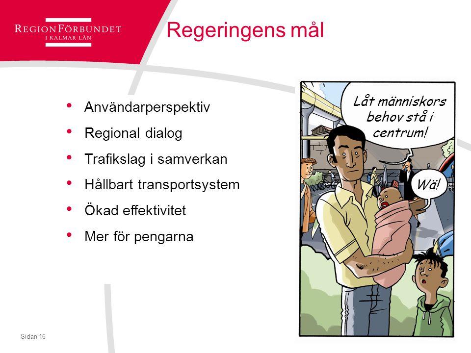 © Regionförbundet i Kalmar län 2007Sidan 16 Regeringens mål Användarperspektiv Regional dialog Trafikslag i samverkan Hållbart transportsystem Ökad effektivitet Mer för pengarna Låt människors behov stå i centrum.