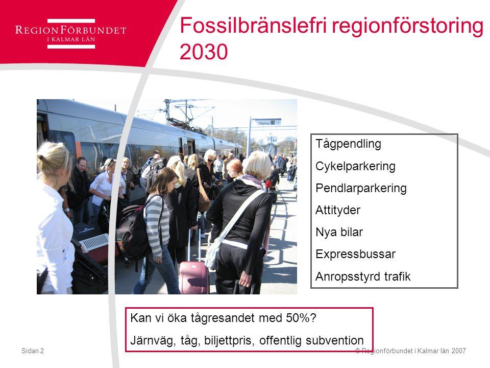 © Regionförbundet i Kalmar län 2007Sidan 2 Fossilbränslefri regionförstoring 2030 Tågpendling Cykelparkering Pendlarparkering Attityder Nya bilar Expressbussar Anropsstyrd trafik Kan vi öka tågresandet med 50%.