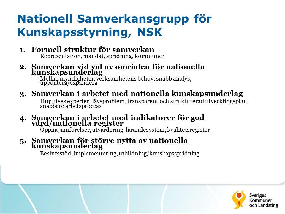 Nationell Samverkansgrupp för Kunskapsstyrning, NSK 1.Formell struktur för samverkan Representation, mandat, spridning, kommuner 2.Samverkan vid val a